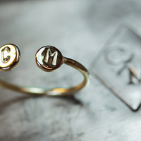 Initial Ring - Personalized Ring - 14k gold cuff ring - Two Initial Personalized Ring