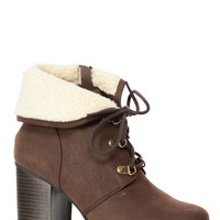 Brown Favorite Fall Faux Nubuck Chunky Booties