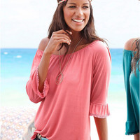 Off the Shoulder Flounced Sleeve Blouse
