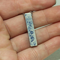Semicolon charm Pendant Bar jewelry Blue pottery pendant