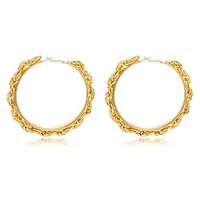 Goldtone Wheat Chain Design 2.5 Inch Hoop Earrings