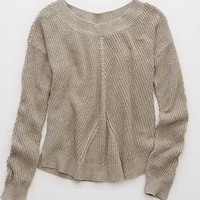 Aerie Off-Shoulder Sweater , Holiday Heather Brown