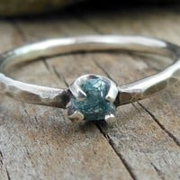 Size 6 Rough Diamond Ring, Dainty Blue Diamond Engagement Ring