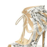 Wild Ride Natural Snakeskin Lace-Up Heels