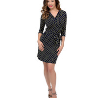 1970s Style Navy Blue & Gold Chain Print Three-Quarter Sleeve Fit & Flare Dress