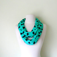 Mint and Navy Heat Soft Jersey Knit  Infinity Scarf, Double Wrap, Long, Different Ways to Wear, Trendy and Modern