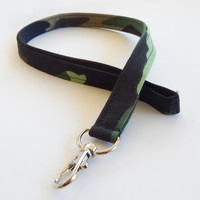 Camouflage Lanyard / Green Bandanna / Camo Keychain / Army / Key Lanyard / ID Badge Holder / Fabric Lanyard