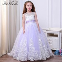 modabelle Beaded Lace Applique Flower Girl Dresses With Long Train Kids Ball Gown Beautiful Communion Dresses Purple/Pink 2018
