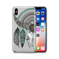 Feathered Mandala Animal Skull - Clear TPU - iPhone Case