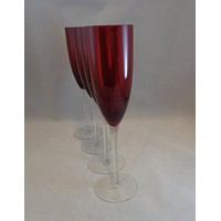Ruby Red Flutes Clear Stem  S/4