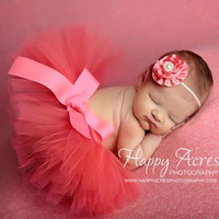 CORAL Newborn tutu and headband, newborn photography prop, baby tutu, birthday tutu
