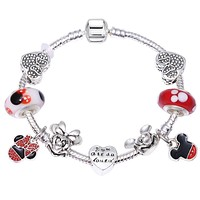 Mickey Enamel Beads Glass Pandora Bracelets