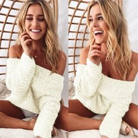 Knit Tops Women's Fashion Winter Long Sleeve Sweater [68969529359]