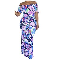 New Sexy Floral Mermaid Fitted Maxi Dress