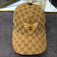 GUCCI New Embroidered Bee Logo Canvas Breathable Baseball Cap