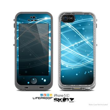 The Abstract Glowing Blue Swirls Skin for the Apple iPhone 5c LifeProof Case