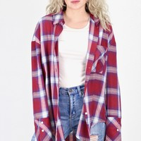 Boyfriend Style Plaid Flannel {Burgundy}