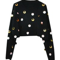 Retro Style Short Knitted Sweater With Sequins