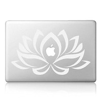 """iCasso Lotus Removable Vinyl Decal Sticker Skin for Apple Macbook Pro Air Mac 13"""" inch / Unibody 13 Inch Laptop (White)"""
