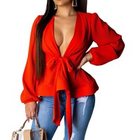 Sexy Deep V-Neck Chiffon Blouse Women Long Puff Sleeve Lace Up Bow Tops Peplum Fashion Ladies Office Shirts Blusas Mujer