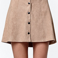 Kendall and Kylie Faux Suede Button Front Skirt at PacSun.com