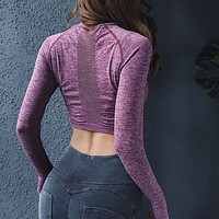 Women Solid Hollow Long Sleeve Shirts Energy Seamless Yoga Top Sports Shirt Sports Wear for Women GYM Workout Bra Fitness Tops
