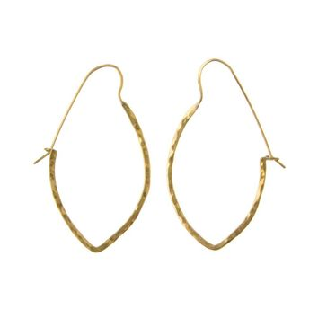 Hammered Brass Oval Hoops