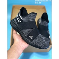 KUYOU A265 Off White Adidas Yeezy 350 V5 Flyknit Tie Running Shoes Black Grey