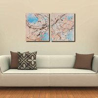 Original Large XL Abstract Art Painting Infusion 2 Panels Acrylic on Canvas 40x24