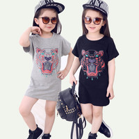3-7years Tiger Design 2016 New Style Summer Dress Girls Clothes Kids Children Girl Dresses