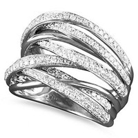 Classique by EFFY Collection 14k White Gold Diamond Multi-Row Ring (3/4 ct. t.w.)
