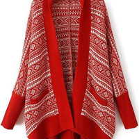 Red Geometric Print Knitted Long Sleeve Cardigan
