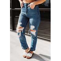 Cello Side Slit Straight Jeans