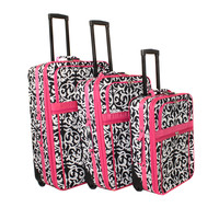 World Traveler Designer Pink Damask 3-piece Expandable Upright Luggage Set