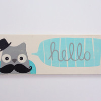 Hand Painted Owl with Mustache Hello Sign Baby by SweetBananasArt