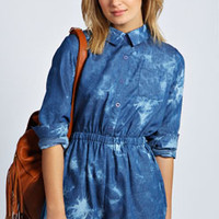 Ellie Acid Wash Chambray Long Sleeve Playsuit