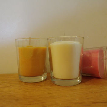 Premium soy wax filled votive, you pick the color and scent!