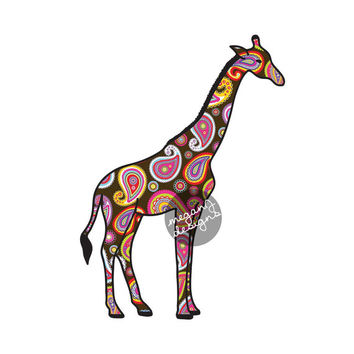 Brown Giraffe Car Decal - Colorful Paisley Bumper Sticker Laptop Decal Pink Green Teal Yellow Cute Car Decal Animal Decal