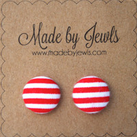 Fabric Button Earrings - Miss Pinup - Buy 3, get the 4th FREE