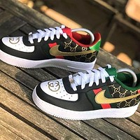 NIKE Air Force1 Skate shoes GUCCI Shoes Print Letters Sneakers Black Gold Hook
