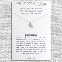 BUTTERFLY - Wish Necklace - Sterling Silver Charm & Chain