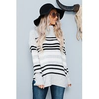 Sabrina Striped Sweater (Heather Grey/Black)