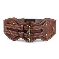 Brown Studded Double Buckle Detail Wide PU Cinch Belt