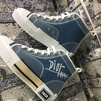 Dior new embroidered letters canvas sneakers shoes