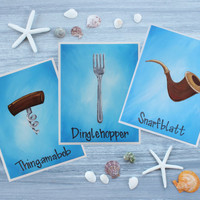 """The Little Mermaid Art Prints / Dinglehopper, Snarfblatt, and Thingamabob 8"""" x 10"""" Prints from Acrylic Paintings / Individual or Set of 3"""