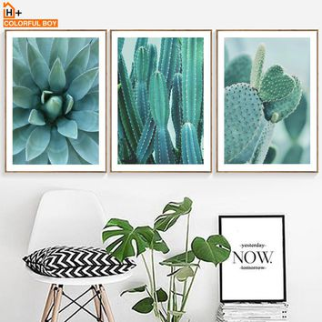 COLORFULBOY Cactus Green Plants Wall Art Canvas Modern Posters And Prints Canvas Painting Wall Pictures For Living Room Decor
