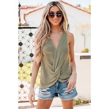 Happiness Within Twist Back Knit Tank Top (Smokey Olive)