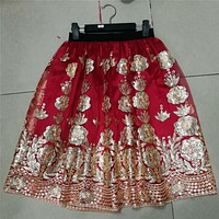 Embroideried Floral Sequins High Waist Tulle Skirts