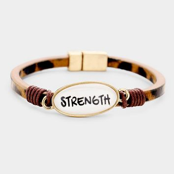 Strength Oval Charm Leopard Faux Leather Magnetic Bracelet