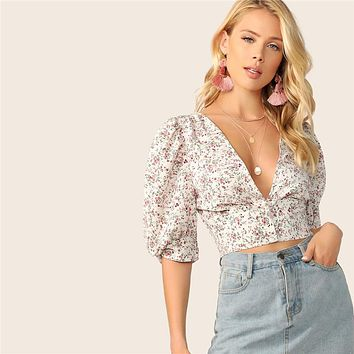 Bohemian Retro Ditsy Floral Plunging Neck Buttoned Crop Top Shirred Blouse Women Puff Sleeve Fitted Vintage Blouses